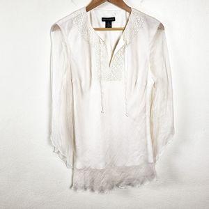 SPENSER JEREMY White Silk Boho Sheer Layer Blouse